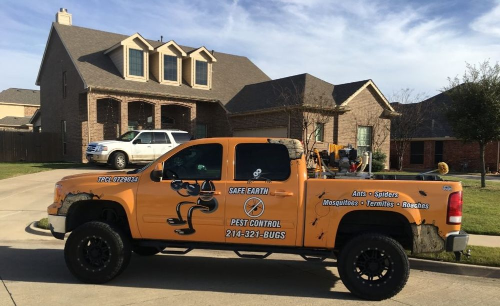 safe earth pest control service truck at rockwall texas home